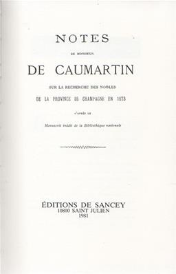 Notes secrètes de Monsieur de Caumartin